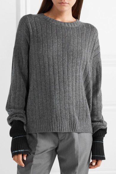 Prada grey ribbed, cashmere sweater with extra long sleeve cuffs in contrasting black.