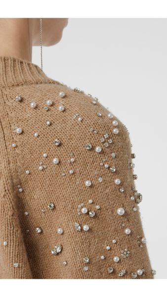 Burberry v-neck, camel coloured cardigan with individually applied faux pearls and crystals.