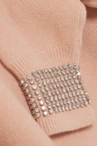Peach, crew neck sweater with crystal embellishments at cuffs by Alexander Wang