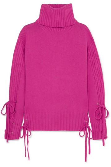 Pink, oversized sweater with lace-up detailing at cuffs and hem, by McQ Alexander McQueen.