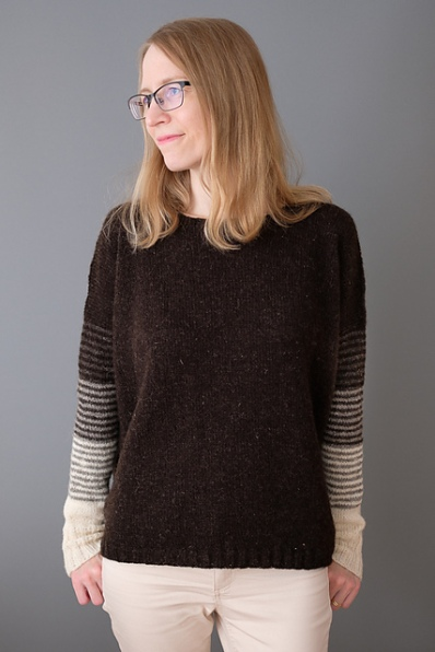 Oversized drop shoulder sweater with extra long, gradient sleeves detail, designed by Suvi Simola.