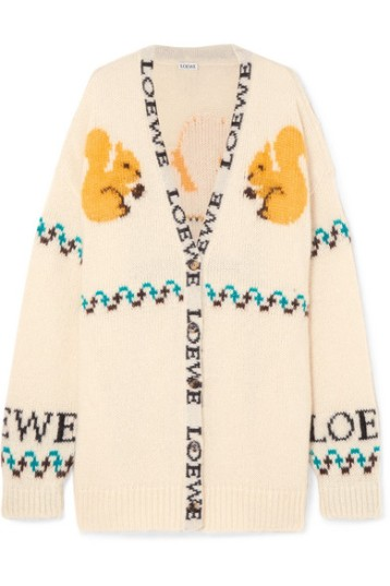Loewe oversized cardigan with intarsia squirrels and logo features.