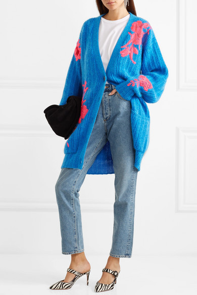 Oversized sky blue cardigan with pink embroidery details, by Christopher Kane