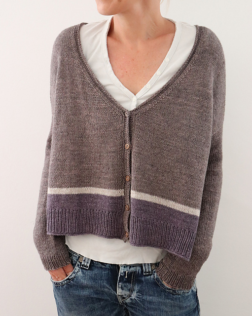 Boxy, cropped cardigan with stripe detail, designed by Isabel Kraemer.