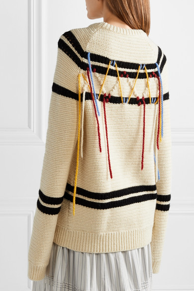 Chunky, oversized sweater with stripe and abstract embroidery detaisl, by Calvin Klein.