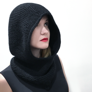 Aran weight, garter hood by Natalya Valyaeva.