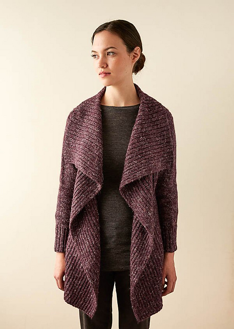 Oversized, ribbed cardigan with wide open collar, designed by Purl Soho. Knitting pattern available at ravelry.com.