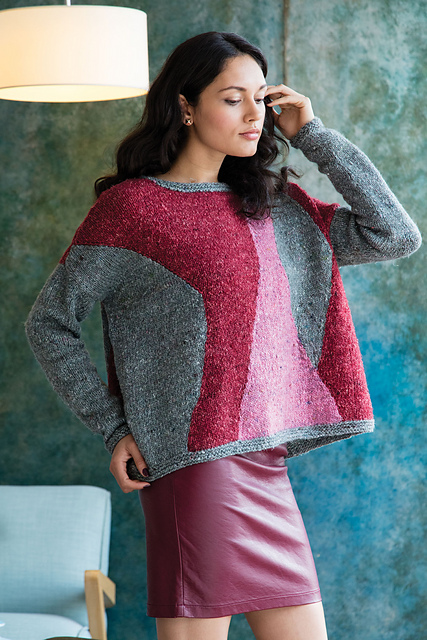 Oversized, multi-coloured, abstract intarsia sweater by Mari Tobita, from ravelry.com.