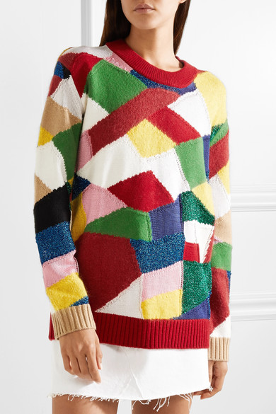 Multi-coloured, patchwork intarsia sweater by Burberry. Autumn Winter 2018-2019.