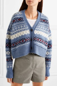 Cropped Fair Isle style cardigan in blue, with cream, red and navy detail, by Prada.