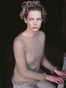 Mohair silk, crew neck sweater with all-over bead embellishment and frill cuffs and hem, by Kim Hargreaves for Rowan.