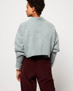 Grey, cropped, boxy, cashmere wool sweater with eyelet detail from Isabel Marant.