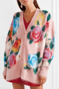 Miu Miu oversized cardigan in cosy mohair blend yarn, with colourful floral intarsia design.