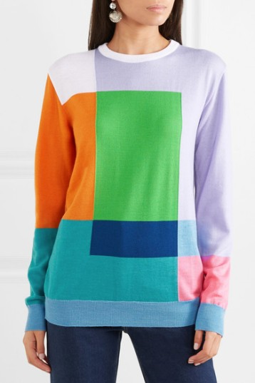 Multi coloured, geometric intarsia design sweater by Katrantzou. Autumn Winter 2018-2019.