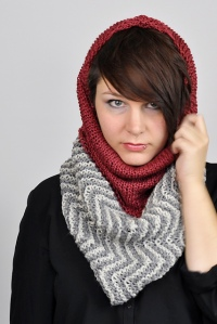 Chevron cowl with multiple ways to wear, including with hood, by Susanne Sommer.