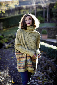 Oversized, stranded colourwork sweater with polo neck and ribbed sleeve detail. Designed by Galina Carroll. Knitting pattern available from Rowan.