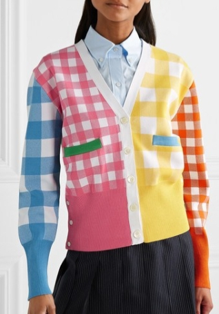 Model wearing multicoloured, gingham check, intarsia cardigan, from Tom Browne Summer 2019.