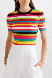 Woman wearing multicoloured stripe, knitted top.
