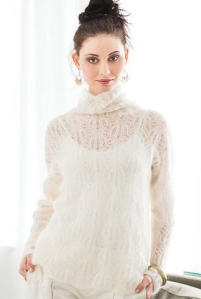 Model wearing lightweight knitted, polo-neck sweater with pretty all-over lace design, in white. Knitting pattern by Yoko Hatta. photo copyright SoHo Publishing.