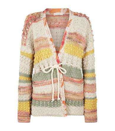 Multi-coloured, striped cardigan from Etro with textured bobble panels and a tie waist.