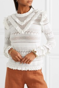 Model wearing white, cotton blend, crochet knit jumper with lace panels and ruffle details at neck, shoulders and lower arm.